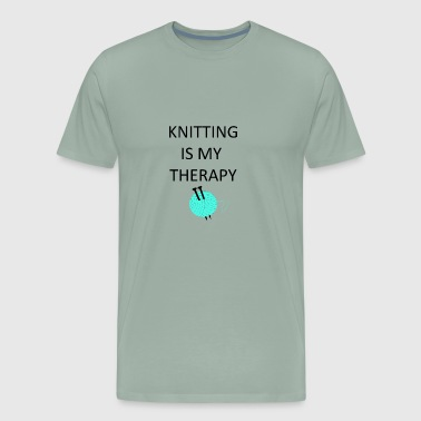 Knitting is my therapy - Men's Premium T-Shirt