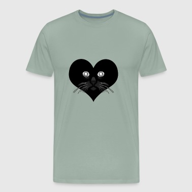 Black heart Cat ♥ - Men's Premium T-Shirt