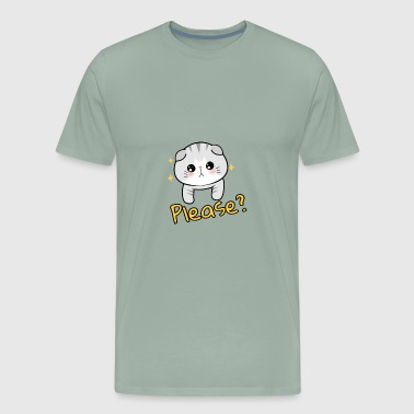 Cute Cat asks Please? - Men's Premium T-Shirt