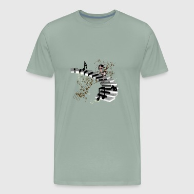 Cute girl dancing on a piano - Men's Premium T-Shirt