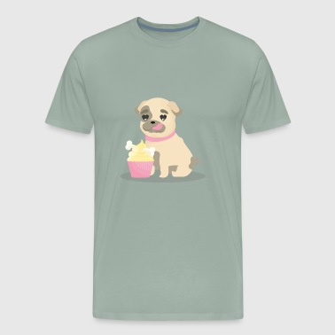Fun pug with lovely style - Men's Premium T-Shirt