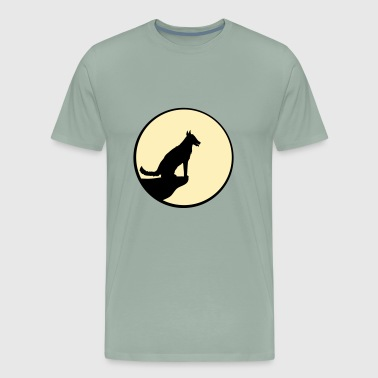 moon sun night night cliff round circle wolf howl - Men's Premium T-Shirt