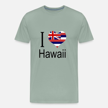 Hawaii State Flag I Love Hawaii Heart Country USA gift flag - Men's Premium T-Shirt