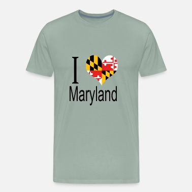 Maryland Flag I Love Maryland Heart Country USA gift flag - Men's Premium T-Shirt