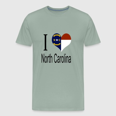 Red White And Blue I Love North Carolina Heart Country USA gift flag - Men's Premium T-Shirt