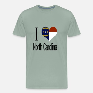 Red Shape I Love North Carolina Heart Country USA gift flag - Men's Premium T-Shirt
