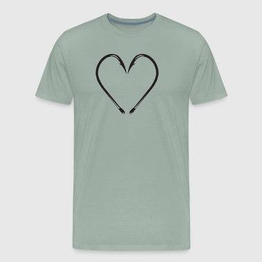 Fishing Hook Heart - Men's Premium T-Shirt