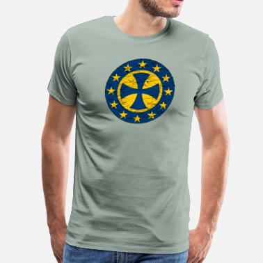 Crusade EU Flag Crusader Cross - Men's Premium T-Shirt