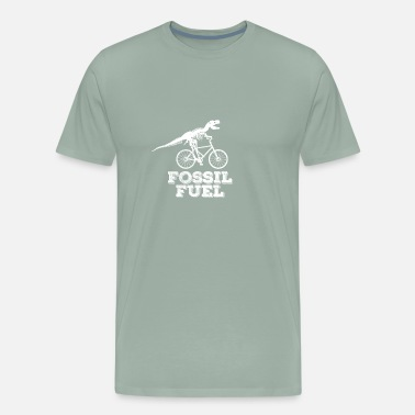 Fossil Funny Dinosaur Cyclist T-shirt Fossil Fuels - Men's Premium T-Shirt
