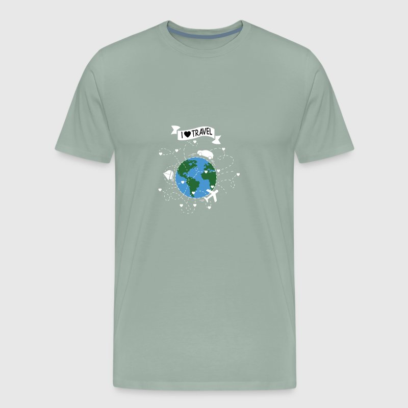 I Love Travel T-Shirt. Plain, car, ship, globe. - Men's Premium T-Shirt