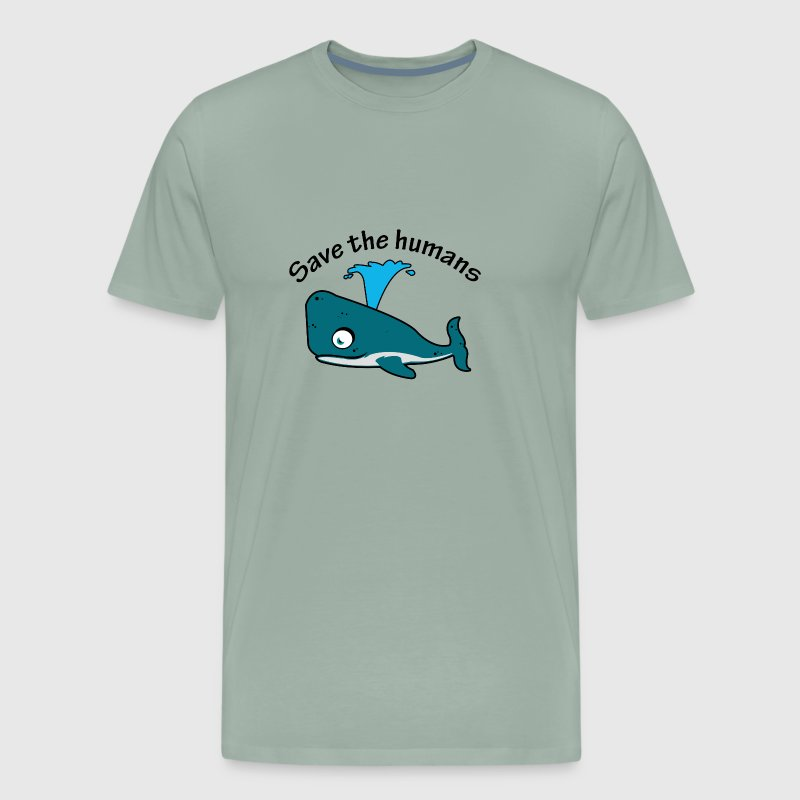 Whale saying Save the Humans - Men's Premium T-Shirt