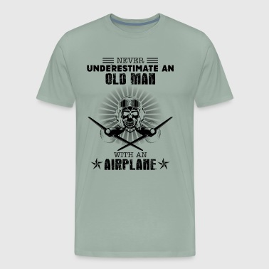 Old Man With An Airplane Shirt - Men's Premium T-Shirt