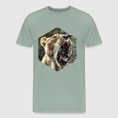 Roaring Lion Awesome Geometric Lion Roar Yawn - Men's Premium T-Shirt