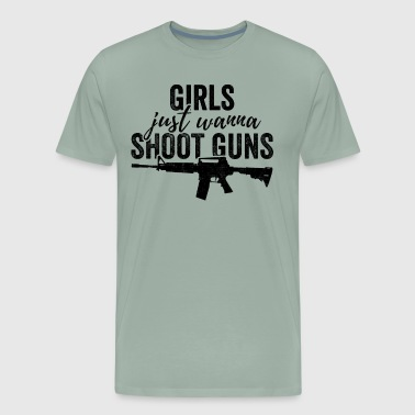Girls Just Wanna Shoot Guns Silhouette Dark - Men's Premium T-Shirt