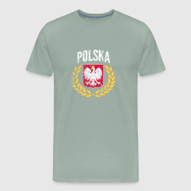 Poland Gold Laurel distressed - World Football Cup - Men's Premium T-Shirt