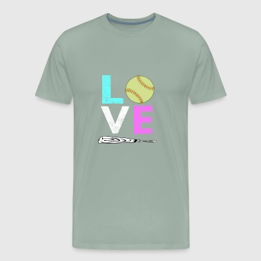 Cute Softball Sayings Cute Girls & Womens LOVE Softball Design for Lovers of SOftball - Men's Premium T-Shirt