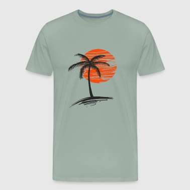 sunset with tree of palm - Men's Premium T-Shirt