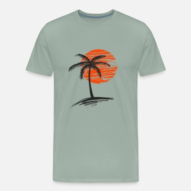 Palm sunset with tree of palm - Men's Premium T-Shirt