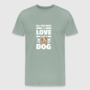 Cute All You Need is Love and A Dog Tshirt - Men's Premium T-Shirt