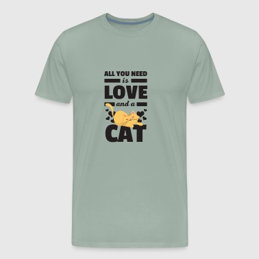 All You Need Is Love And A Cat Funny T Shirt - Men's Premium T-Shirt