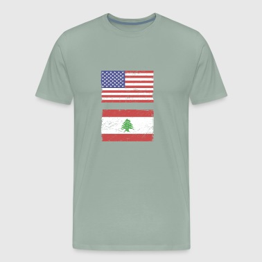 American & Lebanese Flag Lebanon Graphic - Men's Premium T-Shirt
