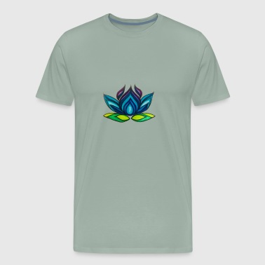 Blue Lotus Yoga Logo, Plain - Men's Premium T-Shirt