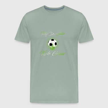 Soccer Football Daughter Kicks Grass - Men's Premium T-Shirt