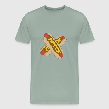 Hot dog in bun with mustard and toasted onion - Men's Premium T-Shirt