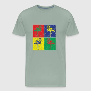 Pop Art Flamingo Used Look - Men's Premium T-Shirt