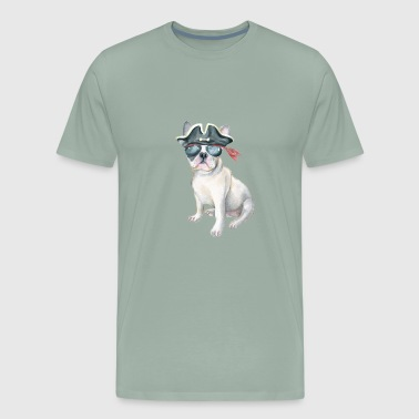 Frenchie French Bulldog Pirate Hat aviators Dogs In Clothes - Men's Premium T-Shirt