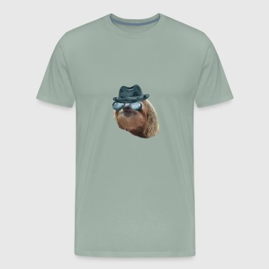 Sloth Aviator Glasses gangster hat Sloths In Clothes - Men's Premium T-Shirt