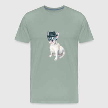 Frenchie French Bulldog Gangster Hat aviators Dogs In Clothes - Men's Premium T-Shirt