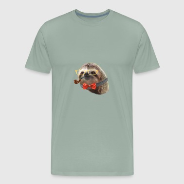 Sloth Yellow Glasses red bow tie Sloths In Clothes - Men's Premium T-Shirt