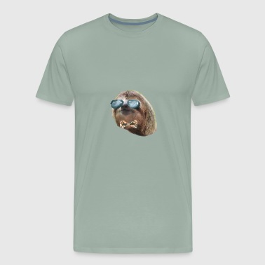 Sloth Aviator Glasses Plaid bow tie Sloths In Clothes - Men's Premium T-Shirt