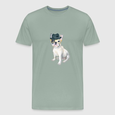 Frenchie French Bulldog Gangster Hat yellow glasses Dogs In Clothes - Men's Premium T-Shirt