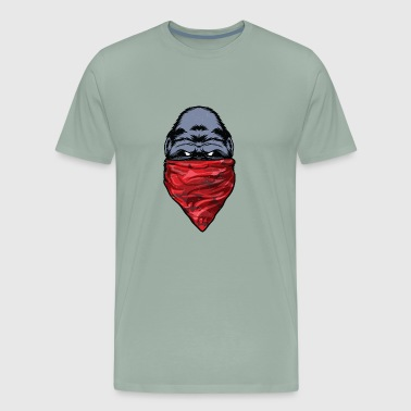 Gorilla Gangster Ape wearing a Red Bandanna - Men's Premium T-Shirt