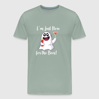 Halloween Martini I'm Just here for the Boos Liqour Drinking Ghost - Men's Premium T-Shirt