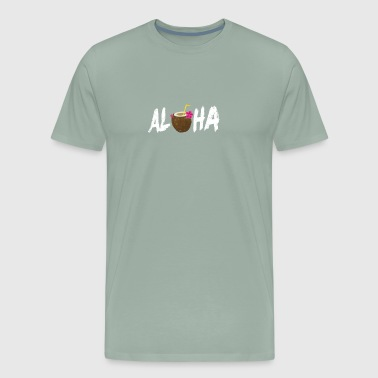 Aloha Shirt With Coconut Drink Hawaii Vacation - Men's Premium T-Shirt
