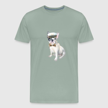 Frenchie French Bulldog plaid bow tie Captains Hat Dogs In Clothes - Men's Premium T-Shirt