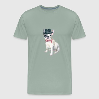 Frenchie French Bulldog Gangster Hat Bandana Bow Dogs In Clothes - Men's Premium T-Shirt