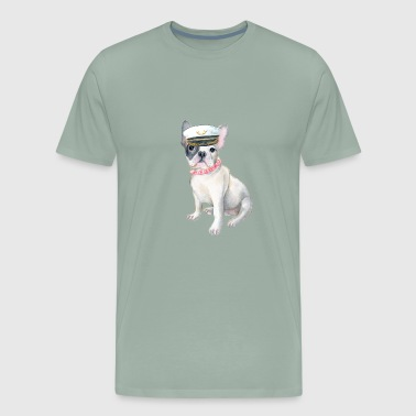 Frenchie French Bulldog beads Captains Hat Dogs In Clothes - Men's Premium T-Shirt