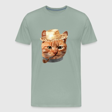 Cat Kitty Kitten In Clothes Pipe Straw - Men's Premium T-Shirt
