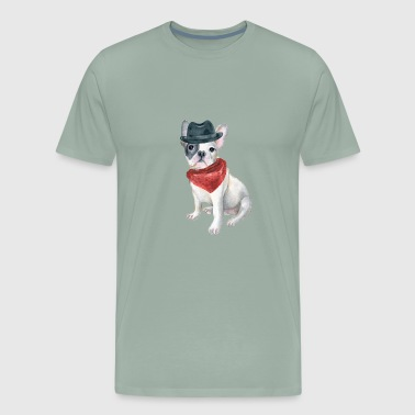 Frenchie French Bulldog Gangster Hat Bandana Red Dogs In Clothes - Men's Premium T-Shirt