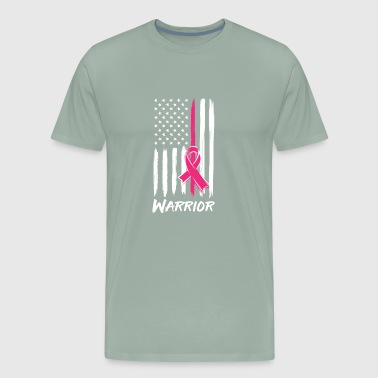 Warrior Breast Cancer Awareness Ribbon Pink Flag - Men's Premium T-Shirt