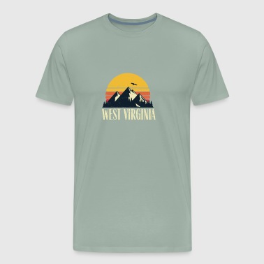 West Virginia Retro Vintage State Mountain Sunset - Men's Premium T-Shirt