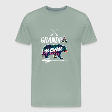 Grandpa Bear Floral Pattern Family Vacation Camp - Men's Premium T-Shirt