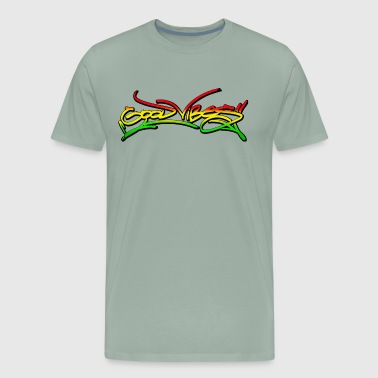 good vibes graffiti tag streetart reggae rasta jah - Men's Premium T-Shirt