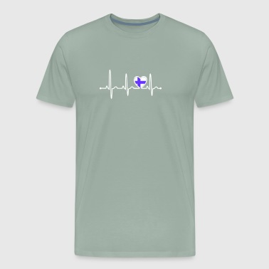 Finland Country Flag Heartbeat - Men's Premium T-Shirt