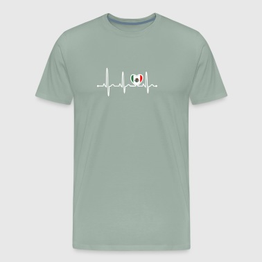 Mexico Country Flag Heartbeat - Men's Premium T-Shirt