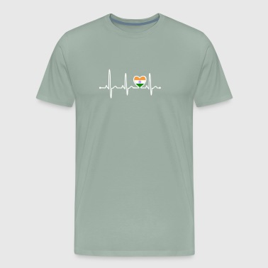 India Country Flag Heartbeat - Men's Premium T-Shirt